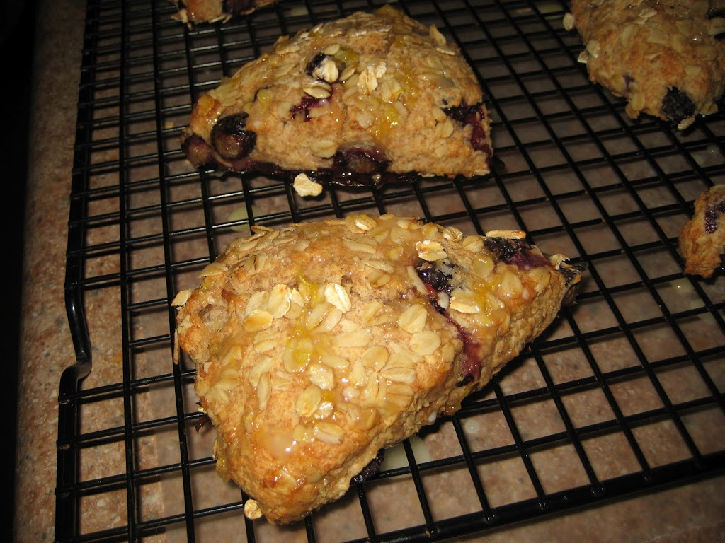 Whole Wheat Blueberry Oat Scones with Zesty Citrus Drizzle