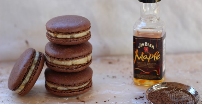 Chocolate French Macarons with Bourbon Praline Buttercream
