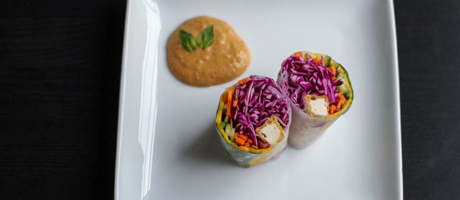 Fresh Tofu Spring Rolls & Peanut Sauce